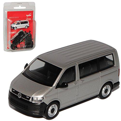 Herpa Volkwagen T6 Bus Personen Transporter Silber T5 Ab 2. Facelift 2015 Bausatz Kit H0 1/87 Modell Auto mit individiuellem Wunschkennzeichen