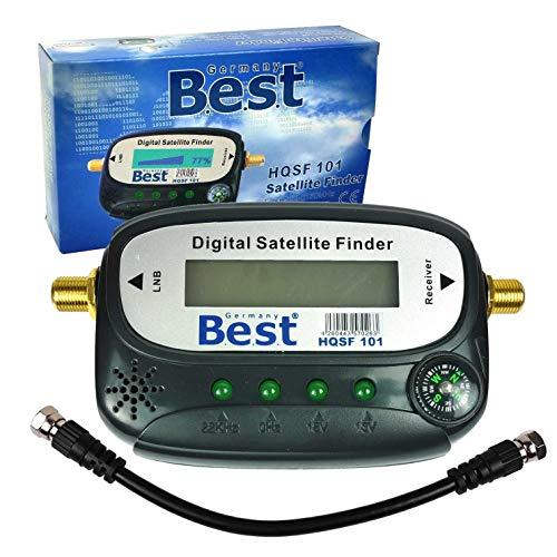 B.E.S.T Elektronik SAT Finder digital HQSF 101 Satfinder Messgerät Antennenmessgerät | LCD Bildschirm, Kompass und Deutsche Anleitung. Keine Batterien notwendig