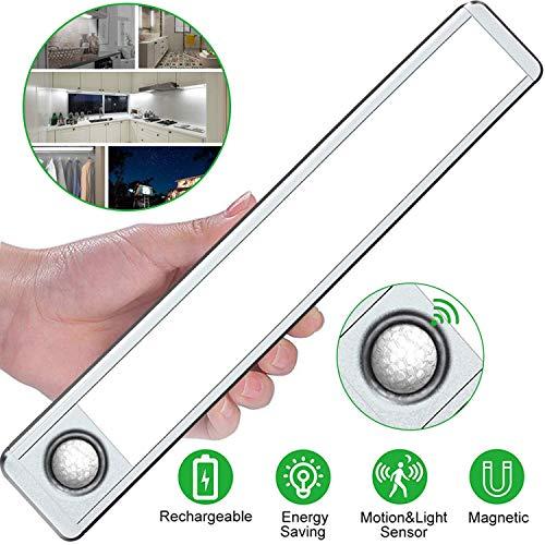 Deknei luces del armario con sensor movimiento, 33LED Sensor luz del armario, Sensor de Movimiento Recargable 4 Modos con Cinta Adhesiva Magnética para Armario,Pasillo,Escalera,Cocina(Plateada)