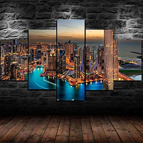 Impresión En Lienzo 5 Piezas Cuadro Sobre Lienzo,5 Piezas Cuadro En Lienzo,5 Piezas Lienzo Decor,5 Piezas Lienzo Pintura Mural,Regalo,Decoración Hogareña Azulejo Horizonte Ciudad Dubai Burj Khalifa