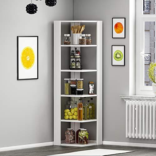 HOMIDEA Ankle Bibliothèque - Étagère de Rangement - Étagère d'angle - Étagère pour Bureau/Salon par Le Design Moderne (Blanc)