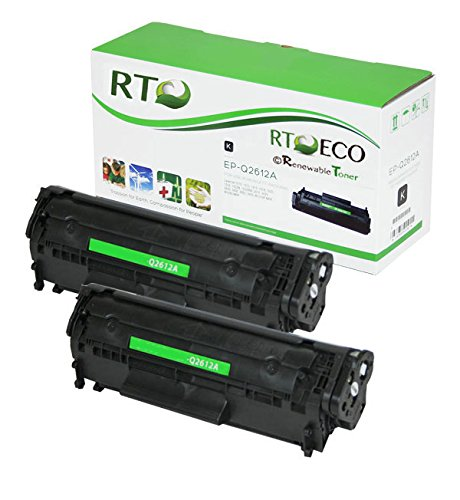 Renewable Toner Compatible Toner Cartridge Replacement for HP 12A Q2612A Laserjet M1319 3015 3020 3030 3050 3052 3055 1010 1012 1018 1020 1022 (Black, 2-Pack)