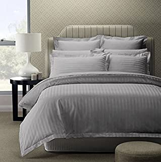 Double King Size Bedsheet with 2 Pillow Covers - 90 x 108 inch, 300 TC 100% Cotton Satin Plain Premium Platinum Superior Elegant Solid Stripes Pure Cotton, Bedsheet for Home, Regular use, Hotel Quality