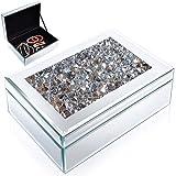 Meetart Silver Diamond Glass Mirrored Jewelry Box Simple Classic Storage Organizer High-end Luxury Mirror Box