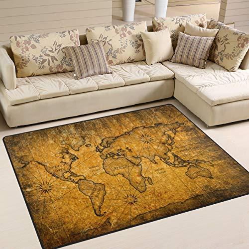 Use7 Tapis vintage avec motif carte du monde pour salon et chambre à coucher, Tissu, multicolore, 203cm x 147.3cm(7 x 5 feet)
