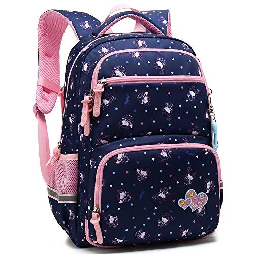 Kids Girls School Backpack with Chest Strap Princess Cute Big Elementary Bookbag (Medium, Royalblue)