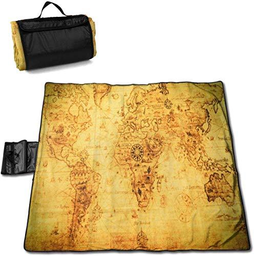 N/A Große wasserdichte Picknickdecke für den Außenbereich, Landkarte im Vintage-Stil, Sanddicht, für Camping, Wandern, Gras und Reisen