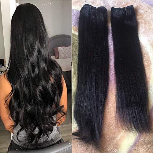 18-22 inch Natural Black Hair Extensions Remy Clip in Human Hair Double Weft Real Clip in Human Hair Extensions 100 Natural Hair 22 inch #1B 7 Pieces 120g
