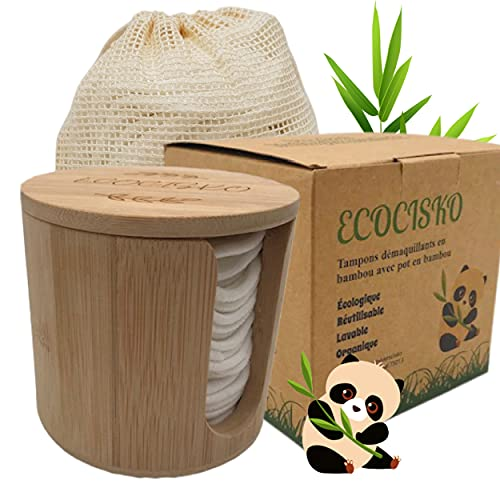Coton démaquillant lavable, lingettes démaquillantes lavables, tampon démaquillant réutilisable, cotons démaquillants doux antibactérien, 20 lingettes lavables + pot bambou très design + filet à linge