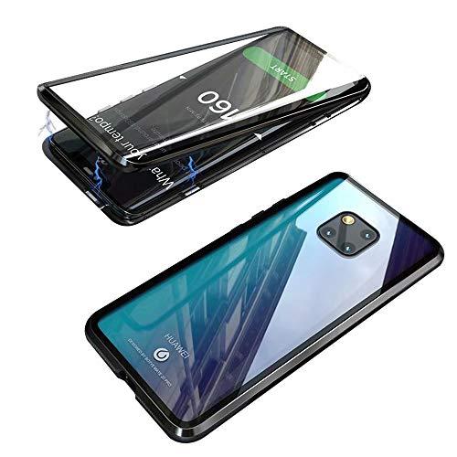 Funda para Huawei Mate 20 Pro (6,39 pulgada), Jonwelsy 360 Grados Delantera y Trasera de Transparente Vidrio Templado Case Cover, Fuerte Tecnología de Adsorción Magnética Metal Bumper Cubierta (Negro)
