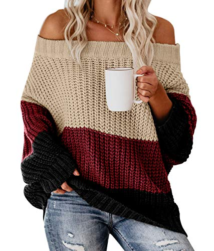 Womens Off Shoulder Color Block Sweater Puff SleeveCable Knit Oversized Loose Baggy Sweaters Maroon M