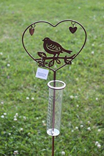 DENK Regenmesser mit Vogel, aus Metall, braun (Rostoptik), H 108 cm Vogel auf AST im Herz mit Zwei kleinen Herzchen