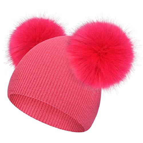 heekpek Wintermütze für Mädchen, Jungen, Fellbommel, niedlich, gestrickt, mit Saum, Unisex, warme Mütze für Mädchen Gr. Einheitsgröße, hot pink
