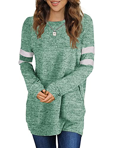 Sousuoty Womens Sweaters Green Tunic Tops to Wear with Leggings M
