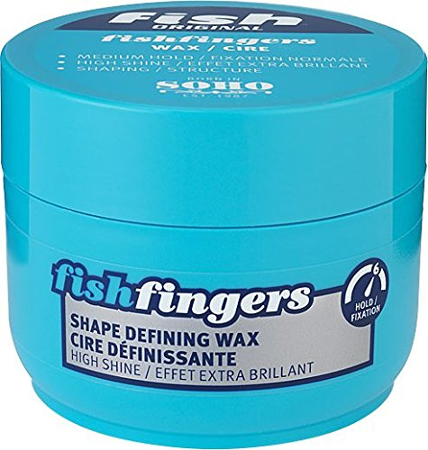 FISH Original Fishfingers Shape Defining Wax 100ml Mens & Boys Hair Styling Product Suitable for Thick, Thin, Short & Medium Length Hair. Stylist & Barber Used. High Shine Defined Finish Medium Hold