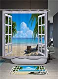 Chickwin Cortina de Ducha Impermeable y Antimoho,Poliéster de Tela Cortinas de Baño Lavable a Máquina 3D Impresión Decorativas Cortina de Bañera con 12 Anillas (Blancas Nubes,180x180cm)