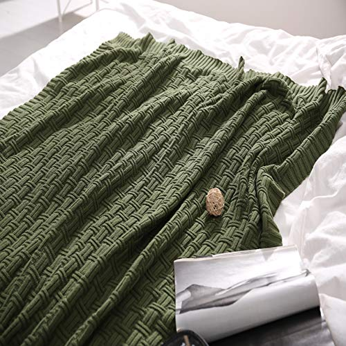 TREELY 100% Cotton Knitted Throw Blanket Couch Cover Blanket(50 x 60 Inches, Green Forest)