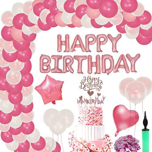 FORMIZON Decoración de Cumpleaños para Niña, Pancarta de Feliz Cumpleaños, Rosa Feliz Cumpleaños Conjunto de Pancartas de Feliz Cumpleaños, Decoraciones para Cumpleaños