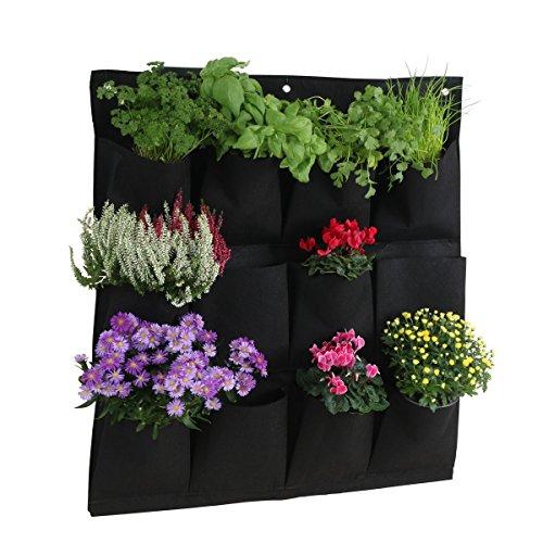 greemotion Pflanztasche – Wand-Pflanzkissen hängend vertikal Begrünung für Balkon & Terrasse Wandbegrünung mit 12 kleinen Pflanzbeuteln Grow Bag Schwarz aus Kunststoff-Filz für Kräuter und Blumen