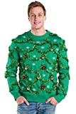 Tipsy Elves Men's Gaudy Garland Sweater - Green Tacky Christmas Sweater with Ornaments: Medium