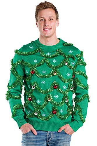 Tipsy Elves Men's Gaudy Garland Sweater - Green Tacky Christmas Sweater with Ornaments: XX-Large