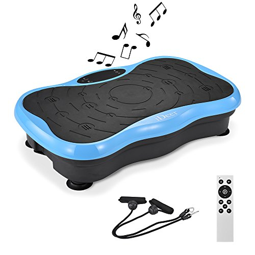 IDEER Vibration Platform Exercise Machines,Whole Body Vibration Plate,Fit Massage Vibration Platform Machine w/Remote&Bands for Body Workout Weight Loss&Toning.Max User Weight 330lbs (Navy Blue04)