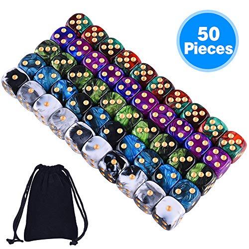 SIQUK 50 Stück 6 seitiges würfel Set 5 zweifarbige Farbwürfel mit Goldpipswürfeln (Freier Beutel) zum Spielen von Spielen wie Tenzi, Farkle, Yahtzee, Bunco oder Mathematikunterricht