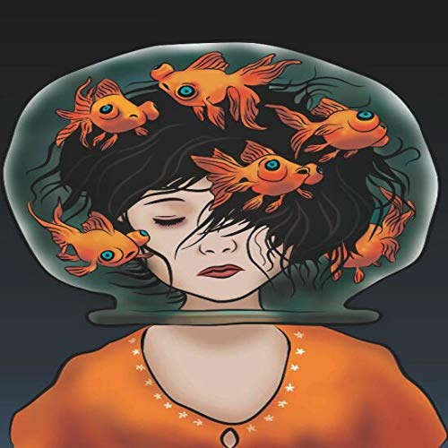 N / A Mädchen Kopf im Wohnzimmer auf Aquarium auf abstrakten Leinwand Wandkunst Gemälde Dekorieren Sie Poster und drucken Sie Bilder Rahmenlos 30X45CM