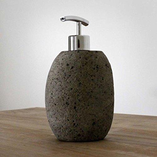 wohnfreuden Flußstein Seifenspender ca. 15x13x13cm ✓ideal für Flüssigseife ✓ Dekoration für Naturstein Waschbecken aus Granit Kiesel ✓