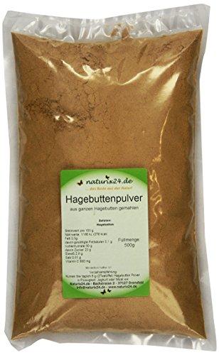 Naturix24 Hagebuttenpulver, Hagebutten gemahlen, 1er Pack (1 x 500 g)