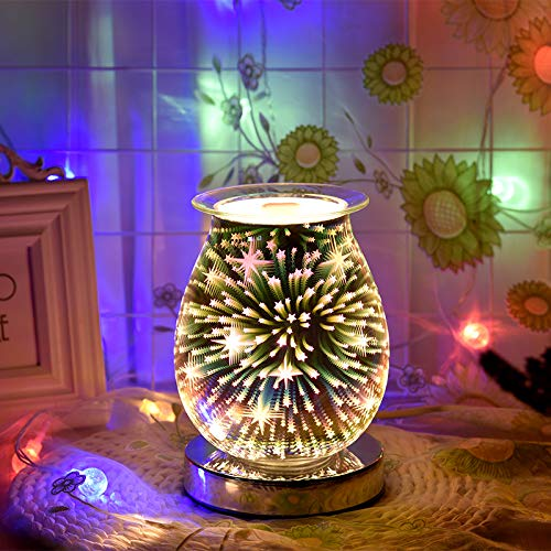 CAMPSLE 3D Glass Electric Oil Burner Wax Melt Burner, 3D Fireworks Lamp Touch Control Base Night Light Warmer Melter fragrance oil burner for Home Office Bedroom Living Room Gifts