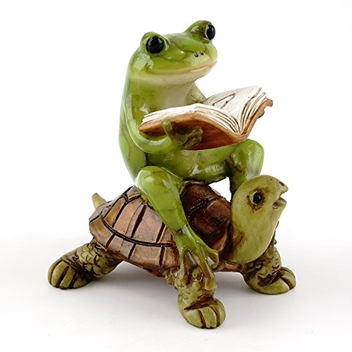 Top Collection Miniature Fairy Garden & Terrarium Frog Reading Book on Turtle Statue, Small