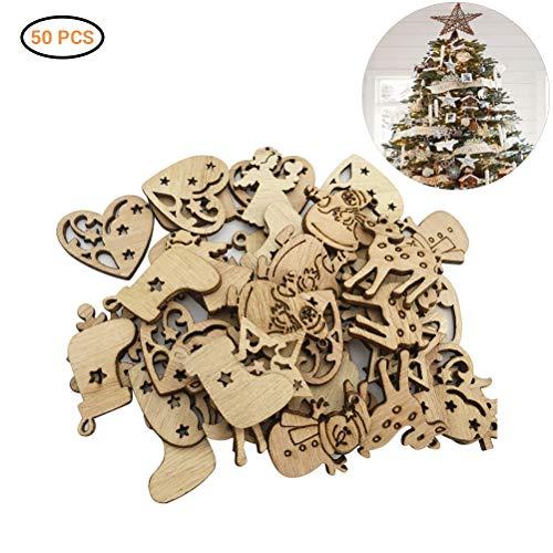 Gutyan Colgante navideño, 500 Piezas Adornos de árbol de Navidad con Estrellas de Madera Mini Papá Noel para Hacer Manualidades DIY