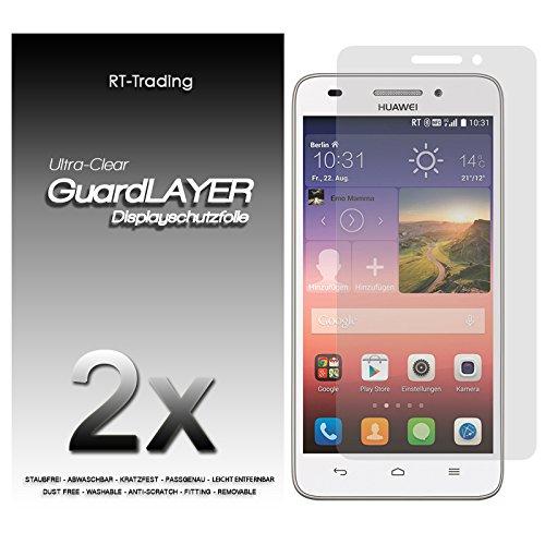 2x Huawei Ascend G620S - Bildschirm Schutzfolie Klar Folie Schutz Bildschirm Screen Protector Bildschirmfolie - RT-Trading