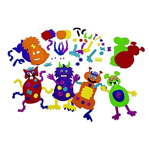 Colorations MONSTERS Foam Monster Making Kit for Kids, Kit for 12, Imagination, Halloween, Self-Adhesive, Arts & Crafts, Creature, DIY, Decorate, Rainy Day Activity