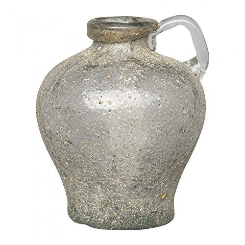 PTMD Glas Krug Vase Salva Grey Metal Look Round medium in Weiß/Silber - Maße: 18.0 x 12.0 x 12.0 cm