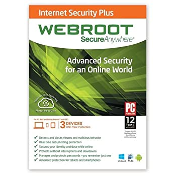 WEBROOT SecureAnywhere Internet Security Plus 2014  3 Devices / 1 Year  Advanced Security Software for PC Mac and Mobile  Android and iOS Devices