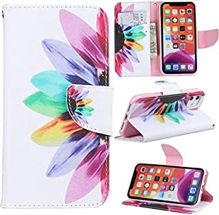 iPhone 11 Case, iYCK Premium PU Leather Flip Folio Magnetic Closure Protective Shell Wallet Case Cover for Apple iPhone 11 6.1 inch 2019 with Kickstand Stand - Colorful Flower