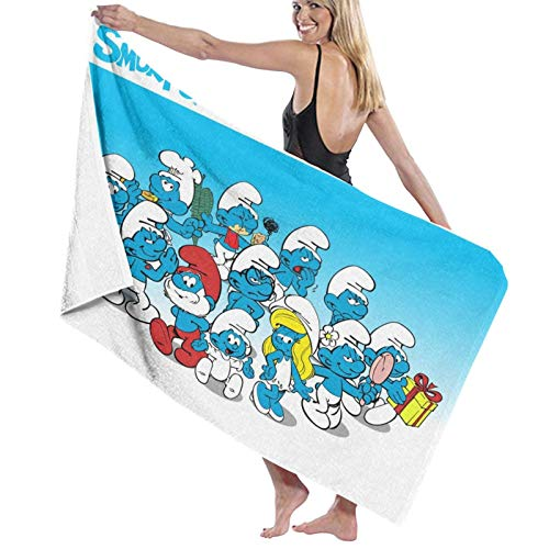 Toalla de playa de los Pitufos, colorida toalla de baño de algodón, grande, 80 x 130 cm, suave y superabsorbente de agua, toalla de baño para niños y adultos, para uso al aire libre, viajes, deporte