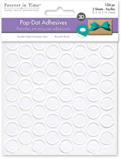 Forever in Time 3D Pop Dots Round Dual-Adhesive Foam Mount, 1/2-Inch, 104 Per Package