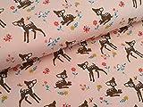 Baumwolljersey Bambi auf Blumenwiese Pastelrosa Reh