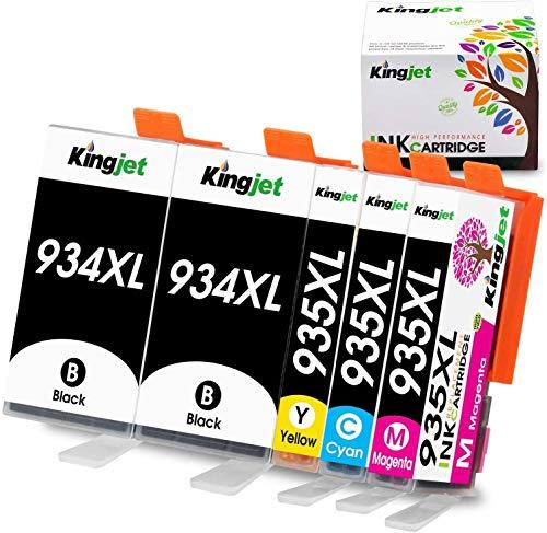 Kingjet 934XL 935XL - Cartuchos de tinta compatibles con HP Officejet 6220 6812 6815 6820 HP Officejet Pro 6230 6830 6835 (2 negro, 1 cian, 1 magenta, 1 amarillo)