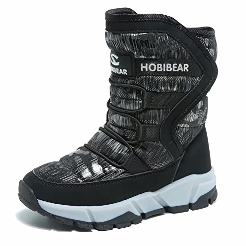 HOBIBEAR Kids Winter Snow Boots Waterproof Outdoor Warm Faux Fur Lined Shoes with Strap (Black-c,1.5 Little Kid)