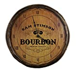 "THOUSAND OAKS BARREL Personalized Premium Quality Bourbon Decorative Barrel End Clock, 21"" (B580) with High Torque Motor - Perfect Whiskey Wine Wall Art Gift Co."