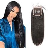 Cierre de cabello humano 20 pulgadas Cierre de 5x5 Cabello liso Parte de 5 pulgadas de profundidad libre con cabello de bebé se puede coser en peluca Brasileña Real Remy Virgin Hair Amazon P