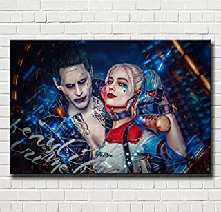 lihuaiart Canvas Wall Art Home Wall Decorations for Bedroom Living Room Oil Paintings Canvas Prints Joker and Harley Quinn 24x36inch (Framed)