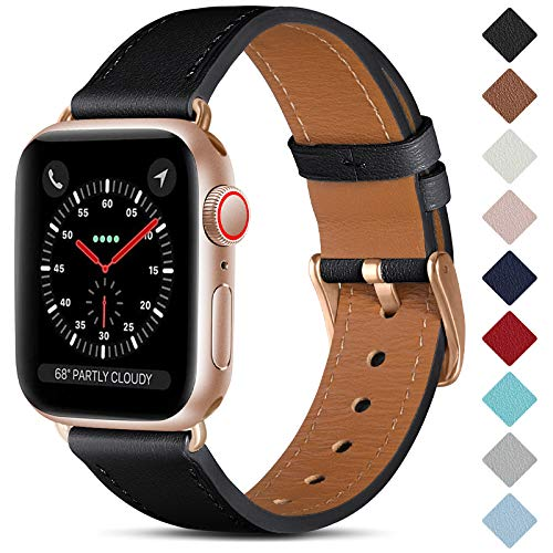CeMiKa Leather Strap Compatible with Apple Watch Strap 38mm 40mm 42mm 44mm, Men Women Genuine Leather Straps Replacement Band Compatible with iWatch SE/Series 6 5 4 3 2 1, 38mm/40mm, Black/Rose Gold