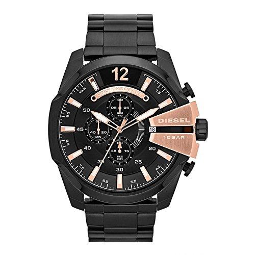Diesel de los hombres Mega Chief cronógrafo reloj de acero inoxidable, color negro