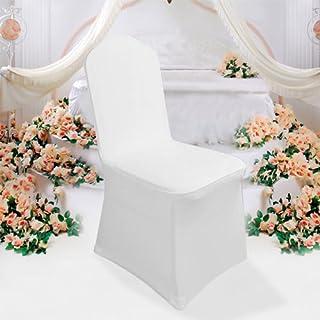 Malayas Stuhlhusse Stuhlbezug Stuhlüberzug Stretch elastische moderne faltbare abnehmbare Stuhl Abdeckung für Hochzeit Fest Feiern Haus Restaurant Dekoration(50 Stück, weiß, umgeben)