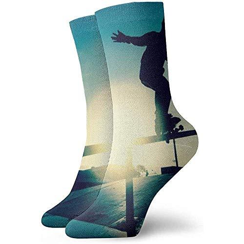 Tedtte Skateboard Sunset Pattern Socks Chaussettes unisexe Neck Socks Dress Socks